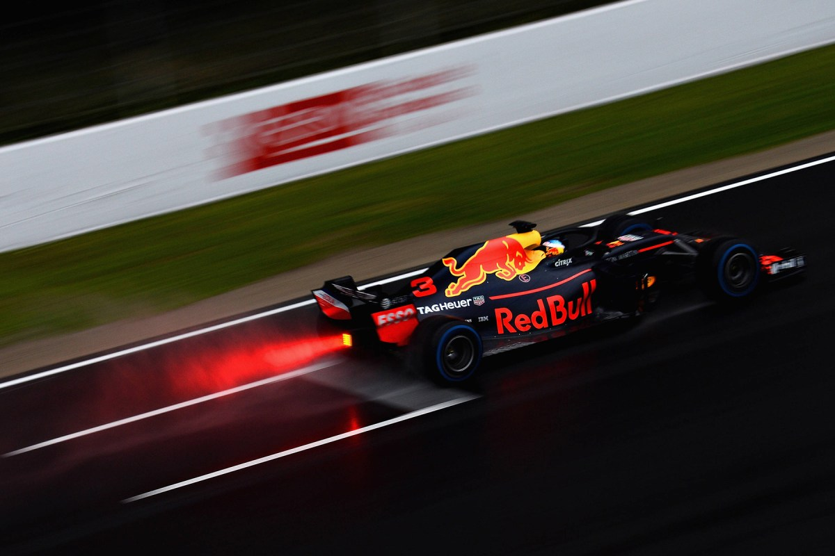 Daniel Ricciardo tests his Renault-powered Red Bull Racing RB14.