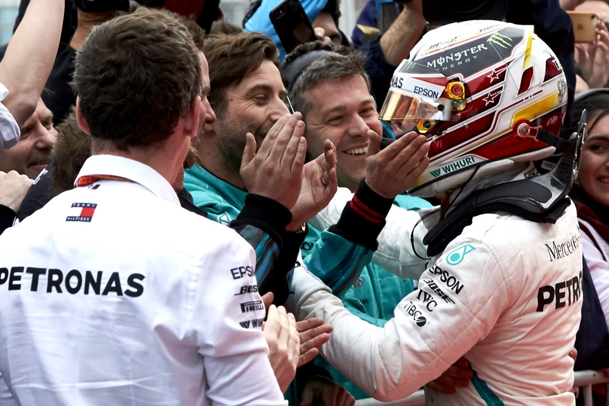 Lewis Hamilton celebrates victory at the 2018 Azerbaijan Grand Prix.
