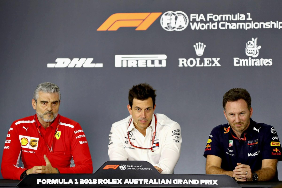 Ferrari's Maurizio Arrivabene, Mercedes's Toto Wolff and Red Bull Racing's Christian Horner in te Friday press conference at the 2018 Australian Grand Prix.