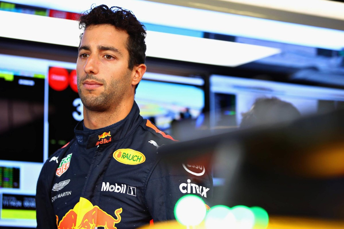 Daniel Ricciardo in his garage at the 2018 British Grand Prix.