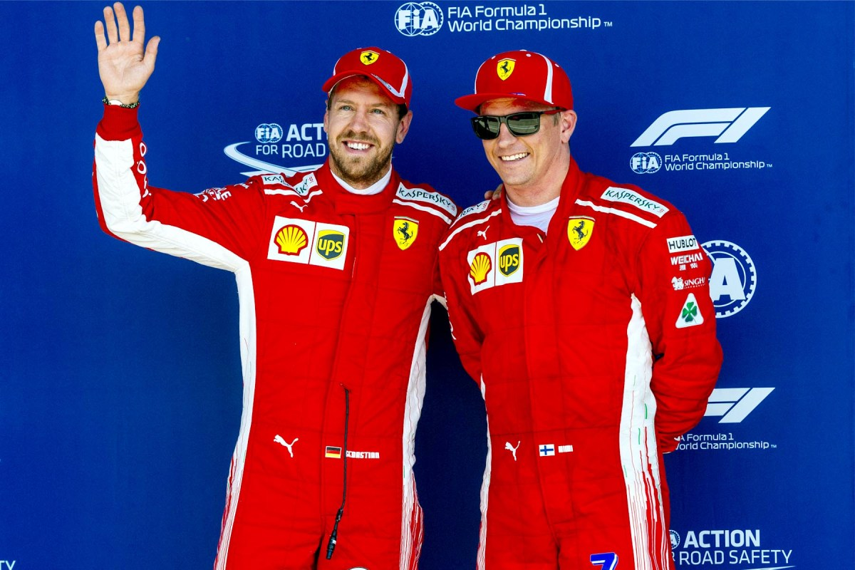 Sebastian Vettel and Kimi Raikkonen at the 2018 British Grand Prix.