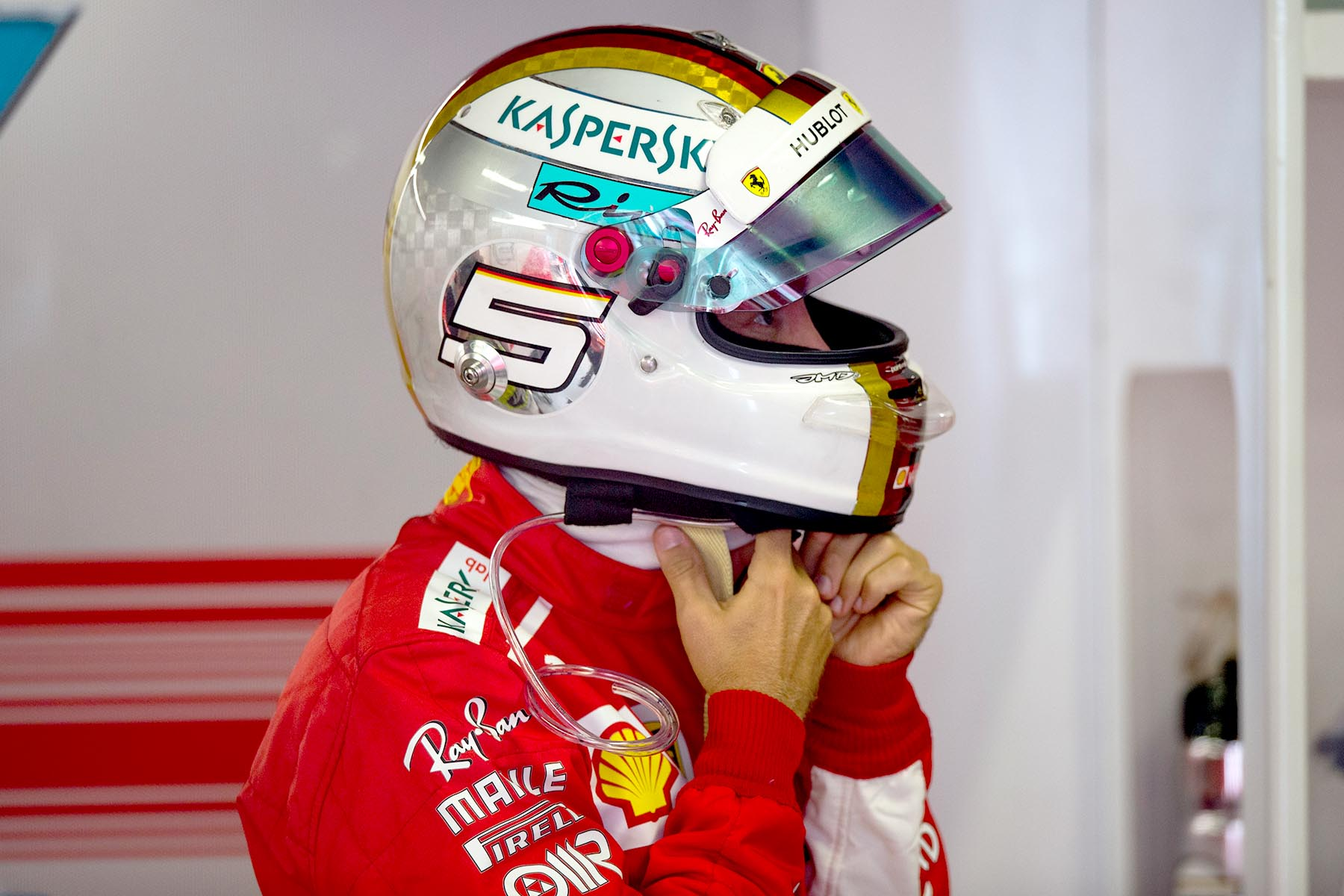 Sebastian Vettel in his garage at the 2018 Italian Grand Prix.
