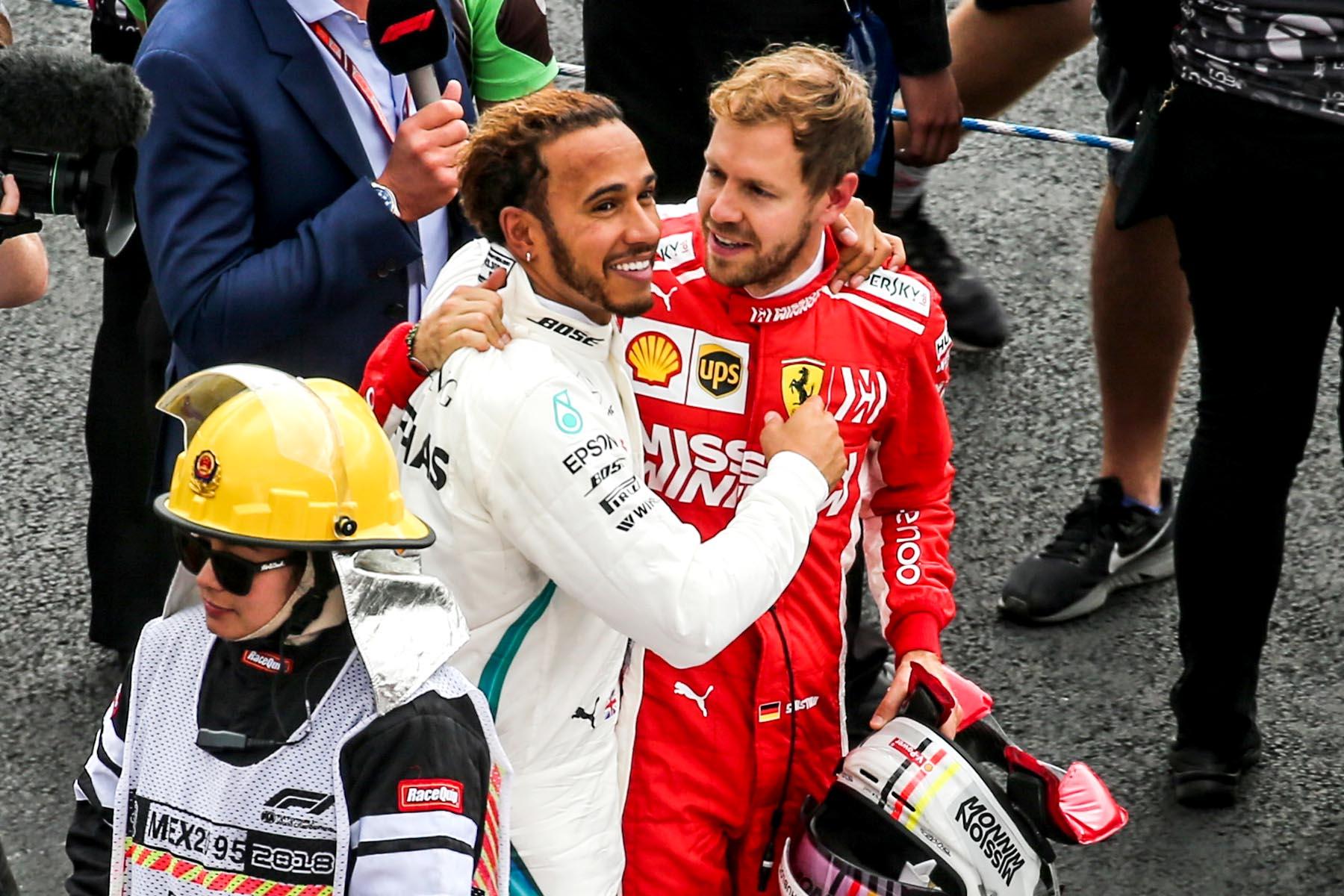 Sebastian Vettel congratulates Lewis Hamilton after the 2018 Mexican Grand Prix.
