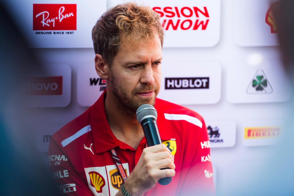 Sebastian Vettel answers questions at the 2018 Mexican Grand Prix.