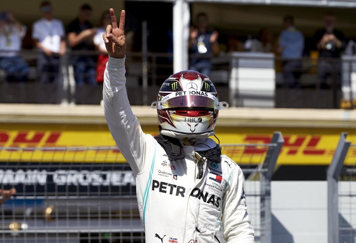 Lewis Hamilton celebrates at the 2019 French Grand Prix.