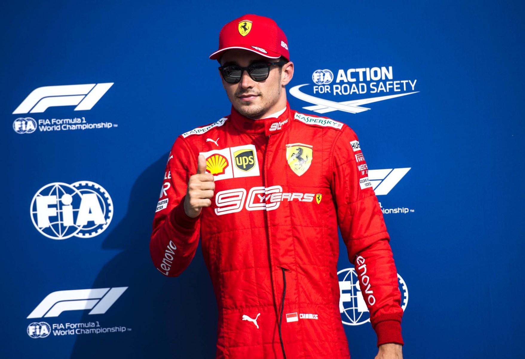 Charles Leclerc celebrates at the Italian Grand Prix