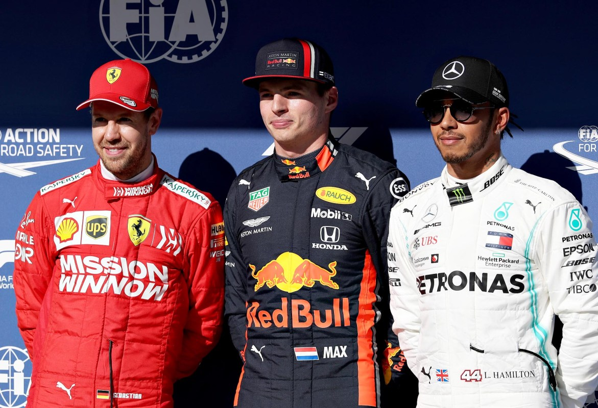 Max Verstappen, Sebastian Vettel and Lewis Hamilton will start from the front of the grid for the 2019 Brazilian Grand Prix.