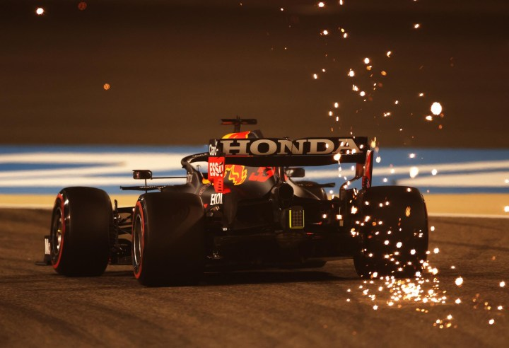 Max Verstappen's RB16B sparks in the night-time