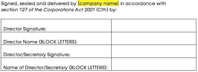 Sample signature for 2 or more directors or a director and a secretary
