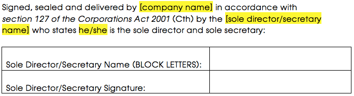 Sample signature block for a sole director
