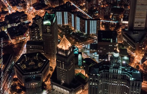 Looking down on Centre Street in Lower Manhattan