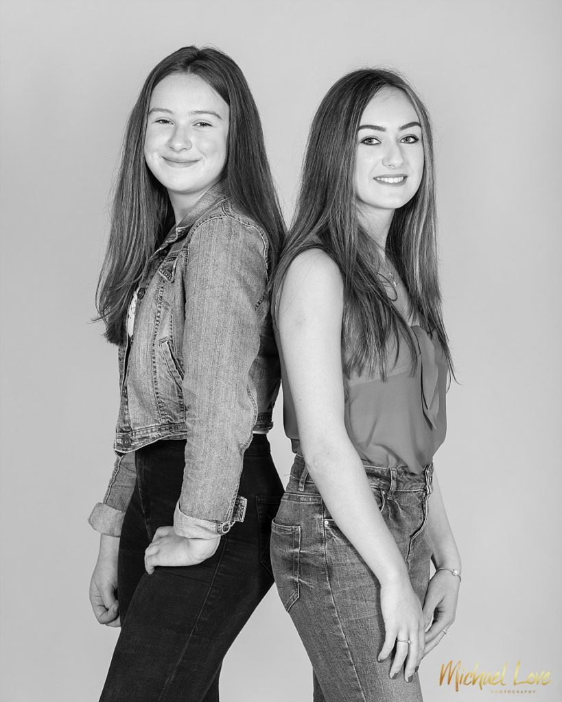 Black and white portrait of sisters