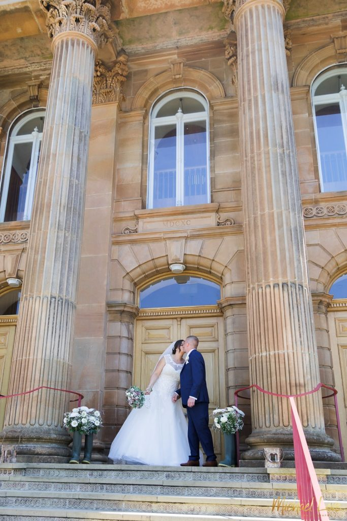 Bride and groom outside First Derry church