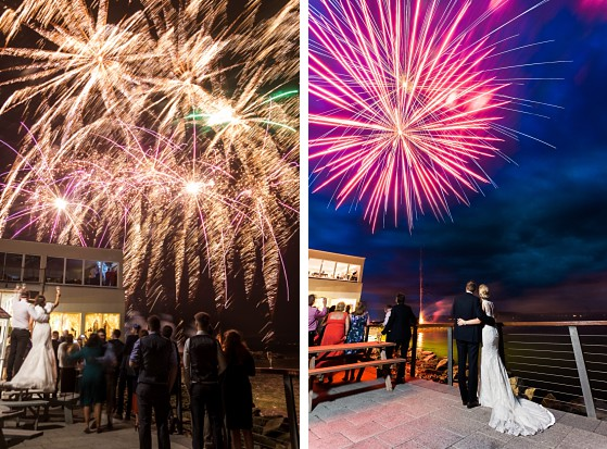 Wedding couple and their fireworks at the Redcastle Hotel