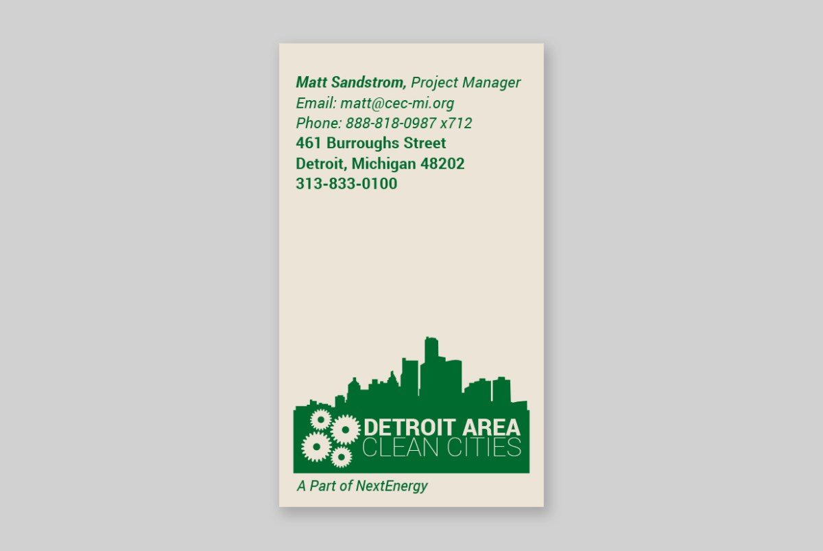 Detroit Area Clean Cities Business Cards
