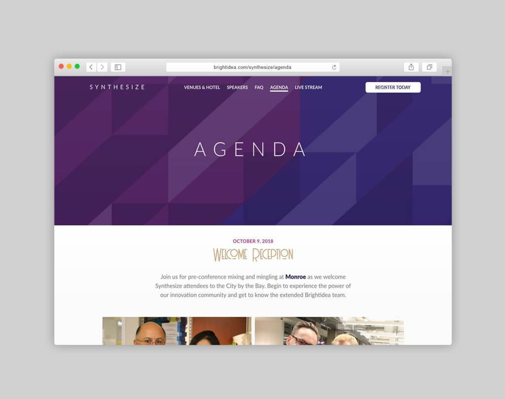 Synthesize Conference Website Agenda Page