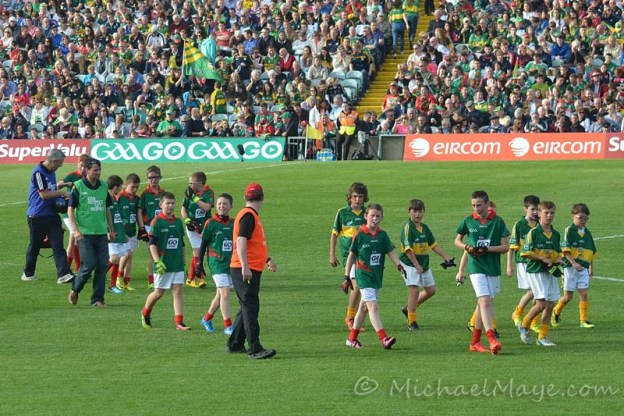 Swinford U-12's Playing At the All Ireland Semi Final Replay between Mayo and Kerry