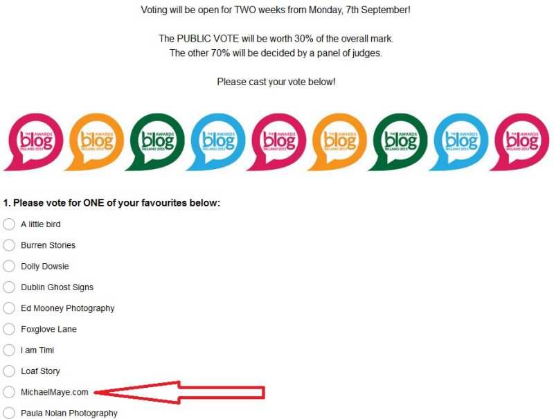 2015 Ireland blog awards vote