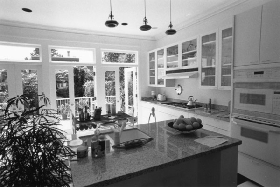 kitchen with a wall of windows