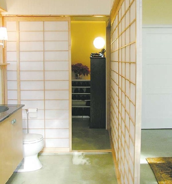 shoji panels divide the space