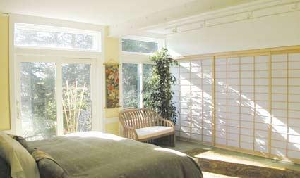 shoji panels in the bedroom