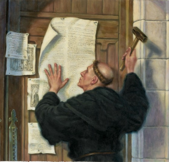 Image result for martin luther nailing 95 theses