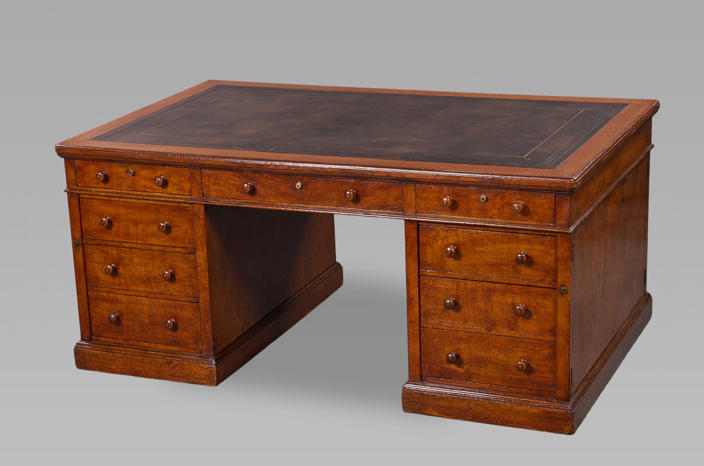 Fine Mid 19th Century Figured Oak Partners Desk by Holland