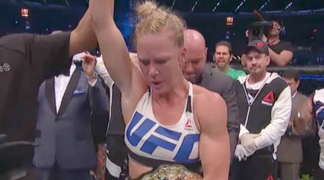 Holly Holm defeats Ronda Rousey to win UFC 193.