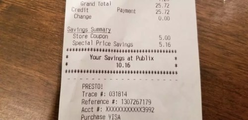 """Sample receipt with """"You Saved"""" amount"""