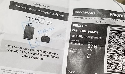 Ryanair stamped boarding pass