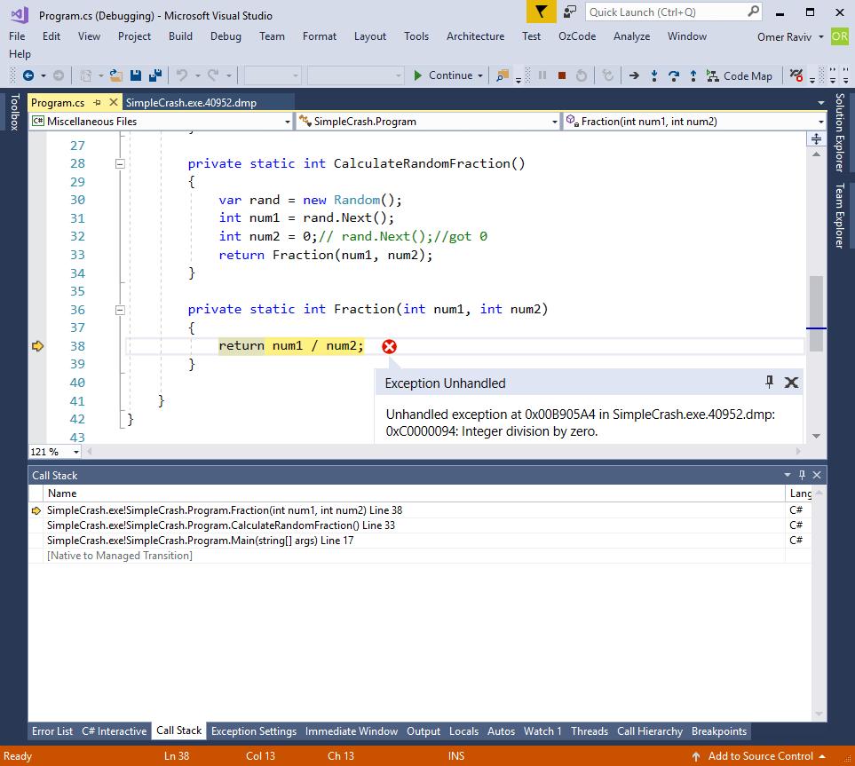 Debugging a  NET program after crash (Post-mortem debugging