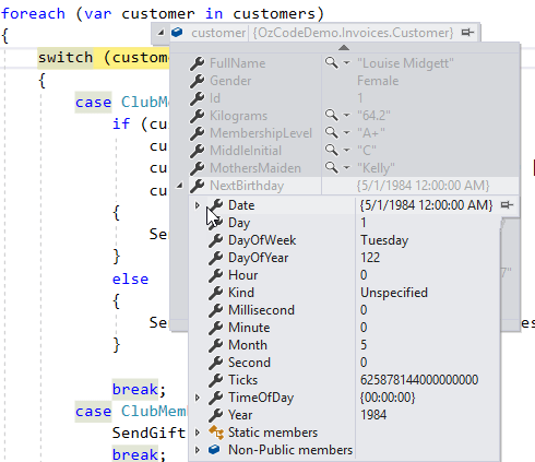 Visual Studio Debugger's data tip