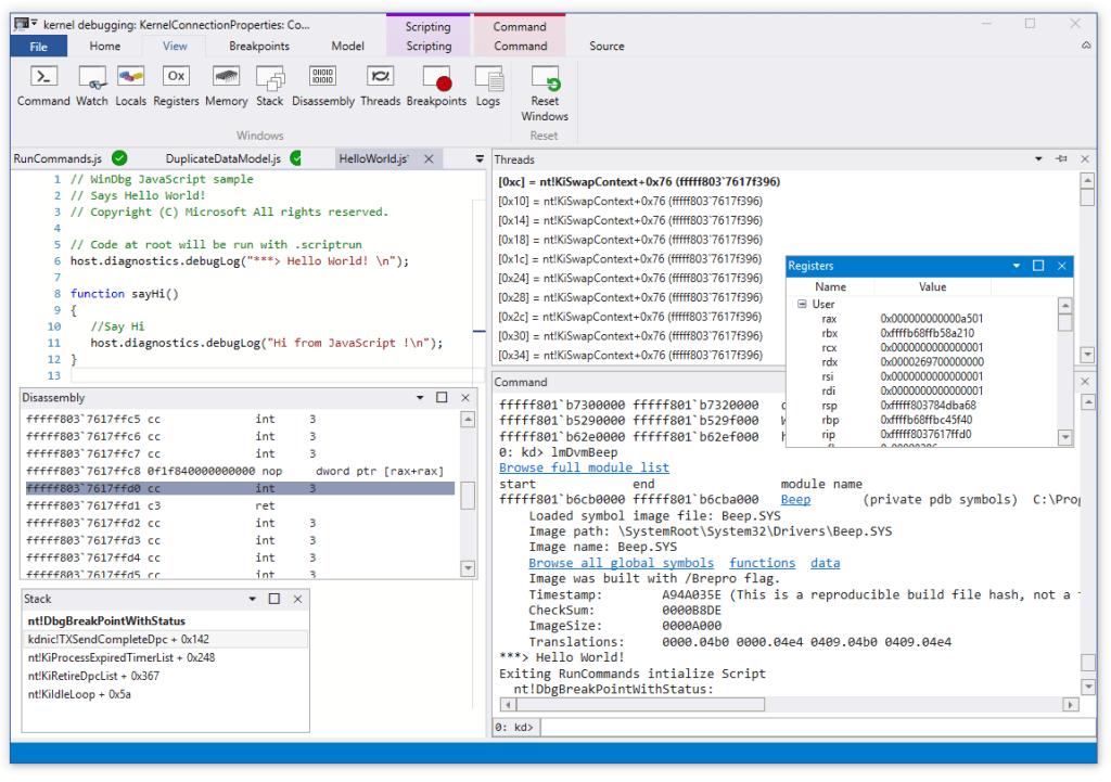 WinDbg Preview screenshot