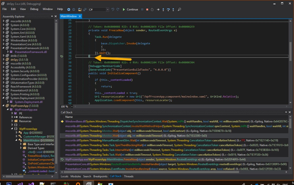 Debugging stuck process with dnSpy