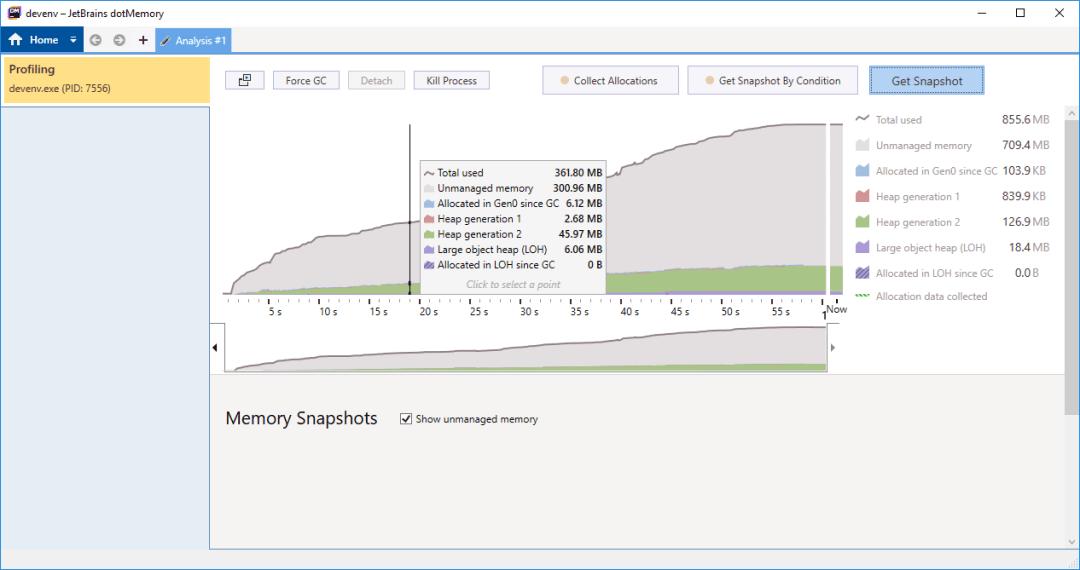 dotMemory profiler real-time view