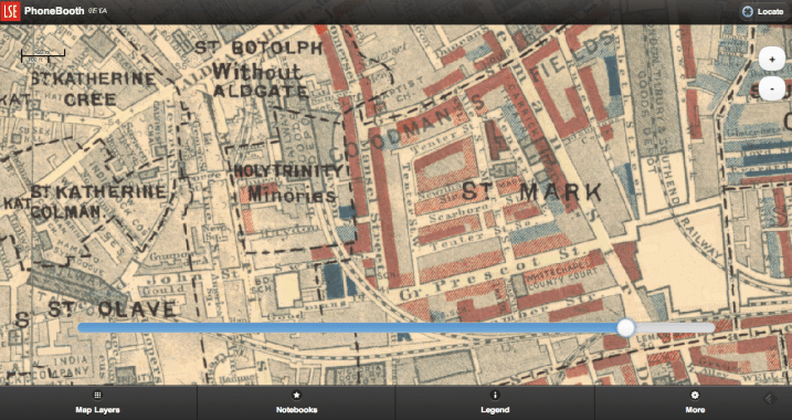 Screenshot from LSE Beta for Booth's Survey Map focusing on my home street of Minories, London.