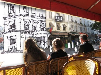 Paris cafe mobile learning illustration