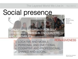 Social presence is the second. We believe that we are constantly generating and enacting our social presence in mobile open spaces.