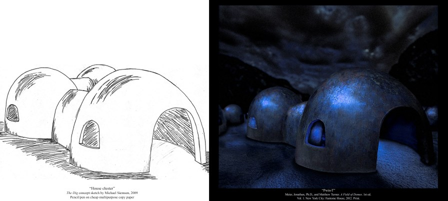 Pwin-T house cluster concept art from The Dig by Michael Siemsen (Book One of the Matt Turner Series)