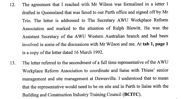 Thiess's letter to Gillard's association wasn't written by