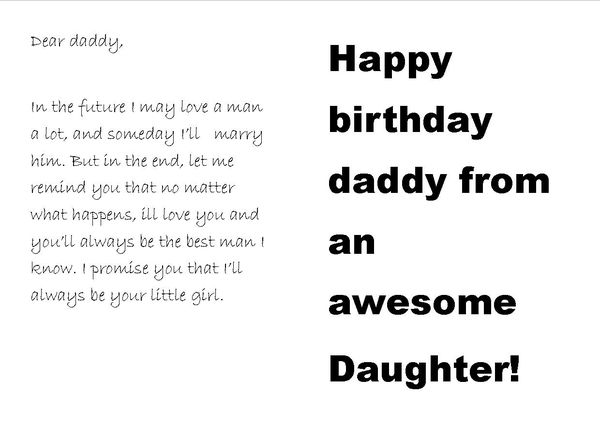 The sort of birthday card every father of a young girl