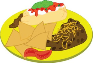 Clipart Illustration of a Burrito Plate ( Mexican Food )