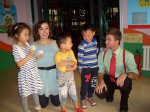 Meeting kindergarteners in Zibo, Shandong, China.
