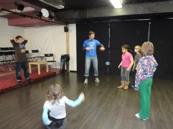 Teaching an improvisation workshop with Harmony Theatre Company and School in St. Louis Park, MN, USA.