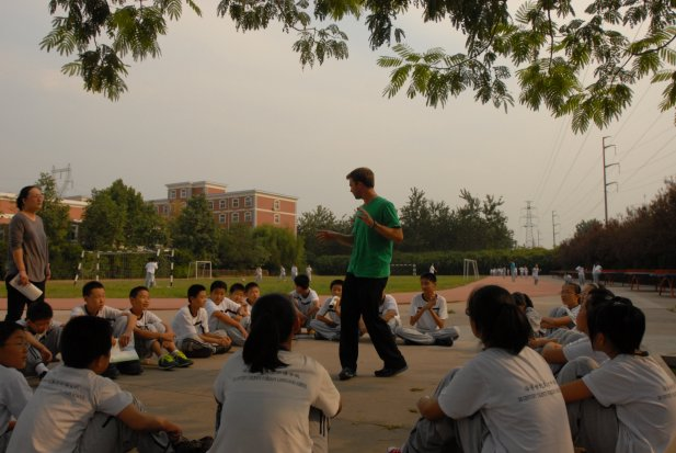Teaching seventh graders outside in Zibo, Shandong, China.
