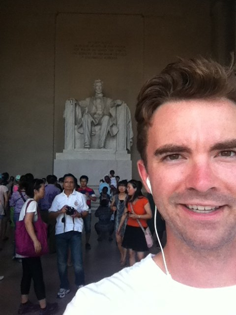 Lincoln Monument selfie while on tour with Thumbs Up. Washington, DC.