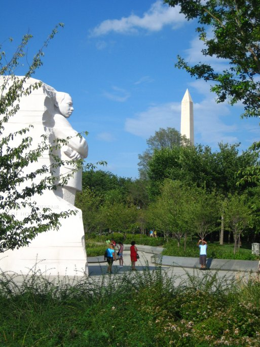 A view of the Martin Luther King and Washington Monument.