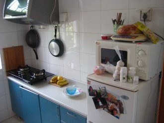 This is the kitchen. Basic and simple. I love the color of the cabinets, but I wish they were about a foot higher. In the left of the picture is one of my favorite things: a Hisense two-burner propane gas stove. This thing is a lot of fun to cook on! When I arrived to the space I noticed another item immediately: the wok. I remarked to my boss that I've always wanted a wok. It was my hope that for a housewarming present when I moved into my condo in 2008 that someone would buy me a wok. It never happened and I never owned a wok. I quipped to my boss that it was ironic that I finally have a wok, it just took coming to China to get it.