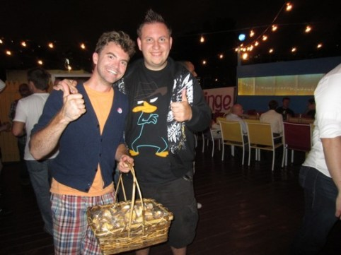 """Anthony Logan Cole and Michael promoting """"Thumbs Up"""" at the Capital Fringe Festival. Photo & write up in the Washington Post the following day!"""