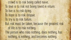 Risks: A Poem by Janet Rand